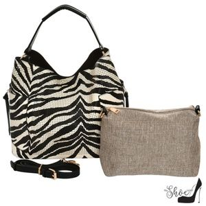 Zebra Perforated Handbag and Crossbody Set